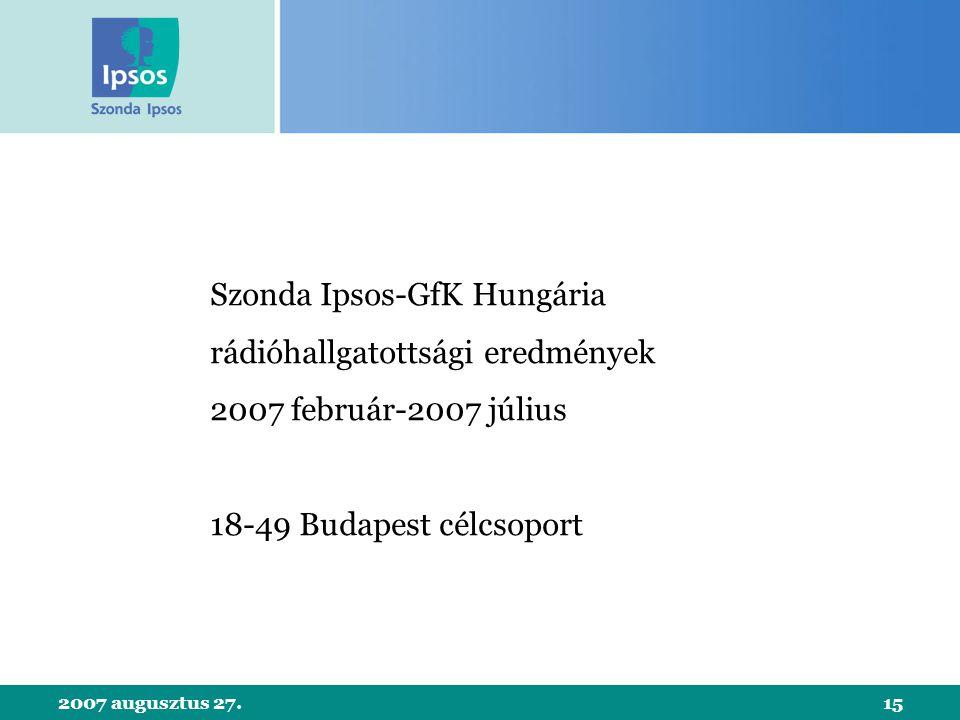 2007 augusztus 27.15 Szonda Ipsos-GfK Hungária rádióhallgatottsági eredmények 2007 február-2007 július 18-49 Budapest célcsoport