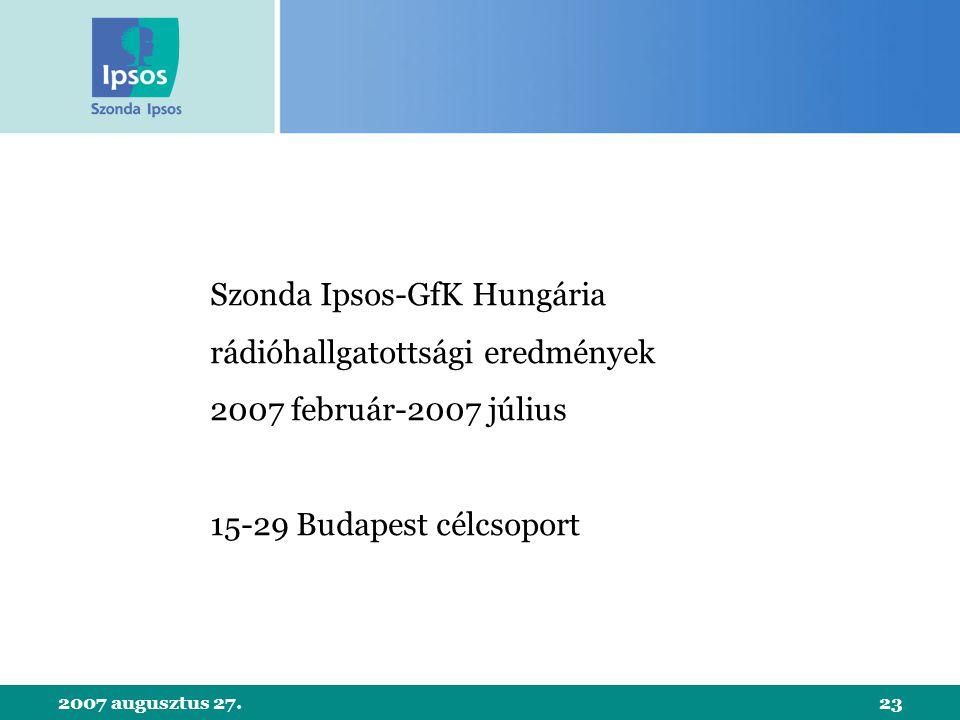 2007 augusztus 27.23 Szonda Ipsos-GfK Hungária rádióhallgatottsági eredmények 2007 február-2007 július 15-29 Budapest célcsoport