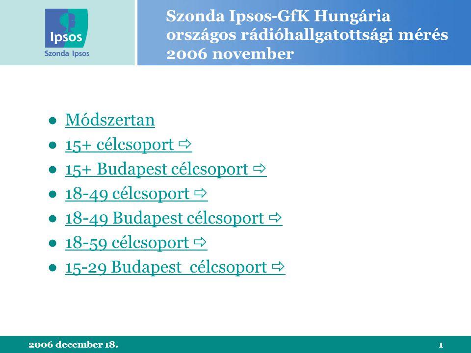 2006 december 18.1 Szonda Ipsos-GfK Hungária országos rádióhallgatottsági mérés 2006 november ●MódszertanMódszertan ●15+ célcsoport 15+ célcsoport 
