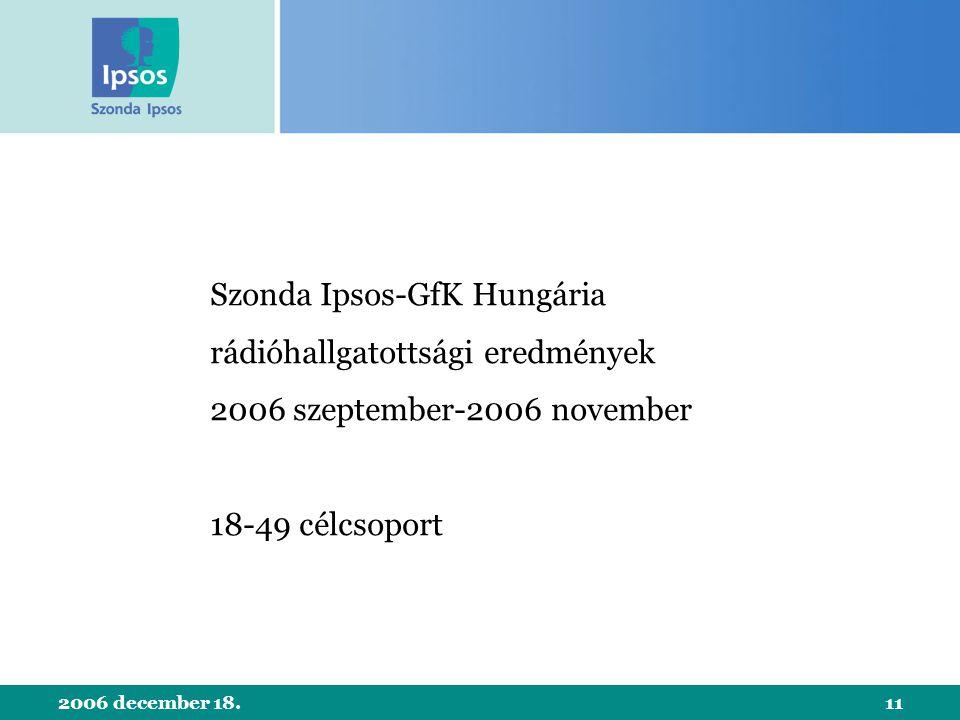 2006 december 18.11 Szonda Ipsos-GfK Hungária rádióhallgatottsági eredmények 2006 szeptember-2006 november 18-49 célcsoport