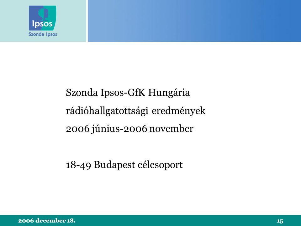 2006 december 18.15 Szonda Ipsos-GfK Hungária rádióhallgatottsági eredmények 2006 június-2006 november 18-49 Budapest célcsoport