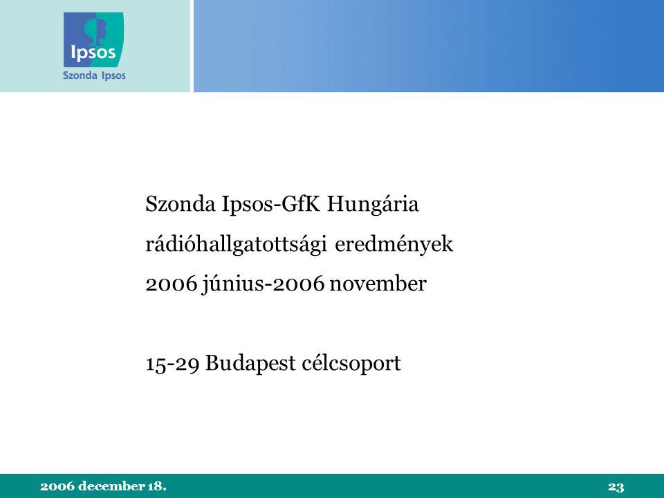 2006 december 18.23 Szonda Ipsos-GfK Hungária rádióhallgatottsági eredmények 2006 június-2006 november 15-29 Budapest célcsoport
