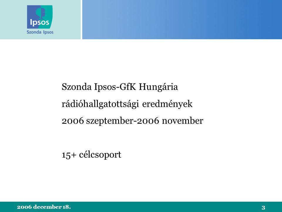 2006 december 18.3 Szonda Ipsos-GfK Hungária rádióhallgatottsági eredmények 2006 szeptember-2006 november 15+ célcsoport
