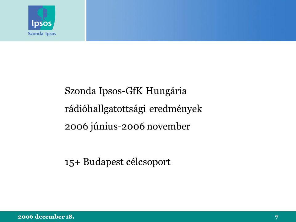 2006 december 18.7 Szonda Ipsos-GfK Hungária rádióhallgatottsági eredmények 2006 június-2006 november 15+ Budapest célcsoport