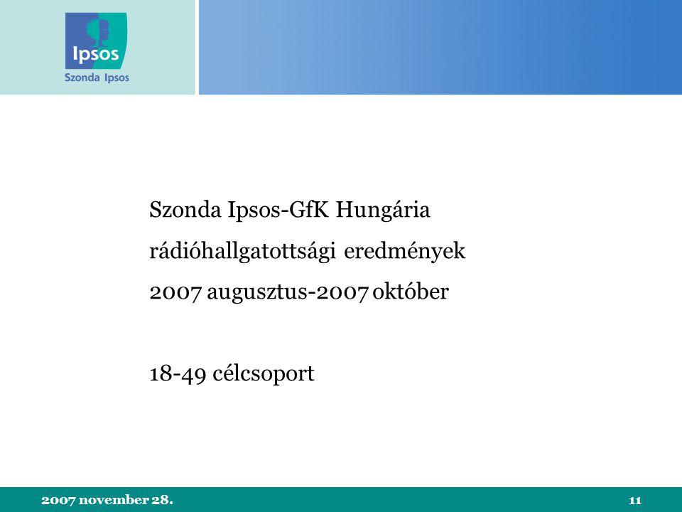 2007 november 28.11 Szonda Ipsos-GfK Hungária rádióhallgatottsági eredmények 2007 augusztus-2007 október 18-49 célcsoport