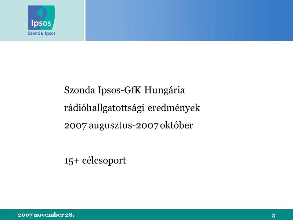 2007 november 28.3 Szonda Ipsos-GfK Hungária rádióhallgatottsági eredmények 2007 augusztus-2007 október 15+ célcsoport