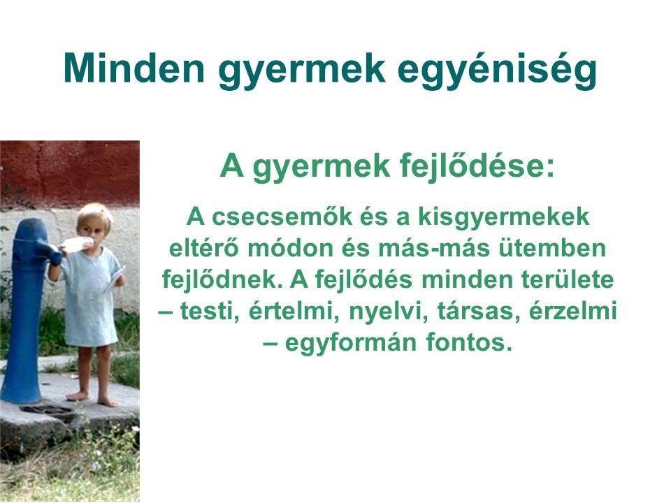 Minden gyermek egyéniség A gyermek fejlődése: A csecsemők és a kisgyermekek eltérő módon és más-más ütemben fejlődnek. A fejlődés minden területe – te