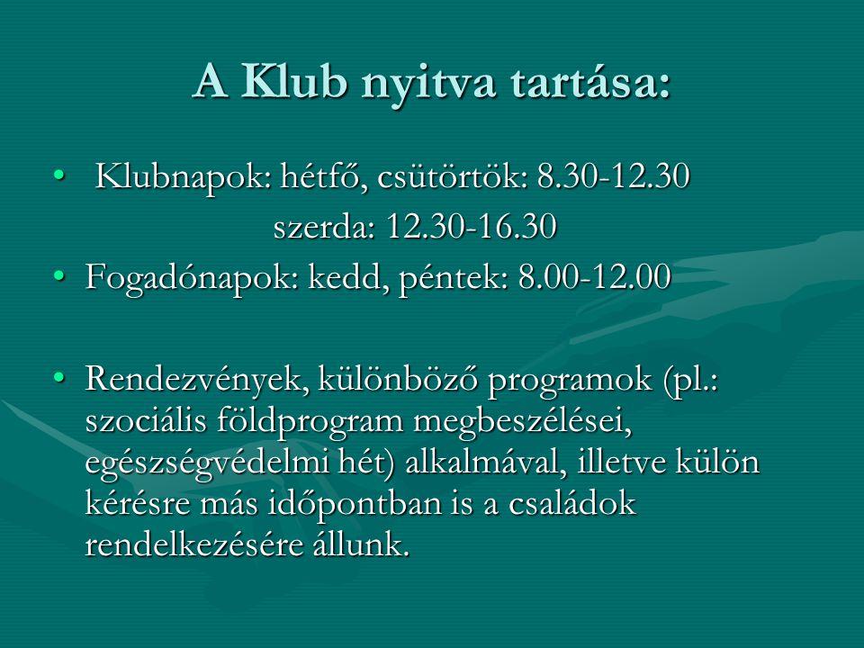 A Klub nyitva tartása: Klubnapok: hétfő, csütörtök: 8.30-12.30 Klubnapok: hétfő, csütörtök: 8.30-12.30 szerda: 12.30-16.30 szerda: 12.30-16.30 Fogadónapok: kedd, péntek: 8.00-12.00Fogadónapok: kedd, péntek: 8.00-12.00 Rendezvények, különböző programok (pl.: szociális földprogram megbeszélései, egészségvédelmi hét) alkalmával, illetve külön kérésre más időpontban is a családok rendelkezésére állunk.Rendezvények, különböző programok (pl.: szociális földprogram megbeszélései, egészségvédelmi hét) alkalmával, illetve külön kérésre más időpontban is a családok rendelkezésére állunk.