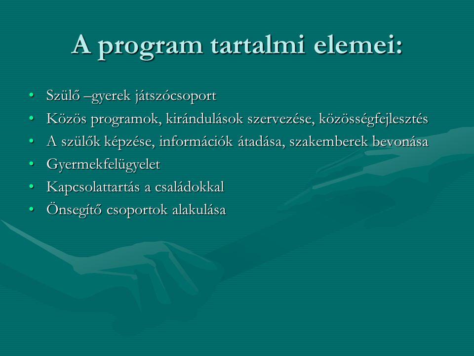 A program tartalmi elemei: Szülő –gyerek játszócsoportSzülő –gyerek játszócsoport Közös programok, kirándulások szervezése, közösségfejlesztésKözös programok, kirándulások szervezése, közösségfejlesztés A szülők képzése, információk átadása, szakemberek bevonásaA szülők képzése, információk átadása, szakemberek bevonása GyermekfelügyeletGyermekfelügyelet Kapcsolattartás a családokkalKapcsolattartás a családokkal Önsegítő csoportok alakulásaÖnsegítő csoportok alakulása