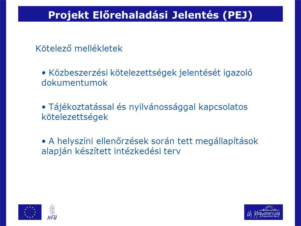 Projekt Előrehaladási Jelentés (PEJ) Kötelező mellékletek Közbeszerzési kötelezettségek jelentését igazoló dokumentumok Tájékoztatással és nyilvánossá