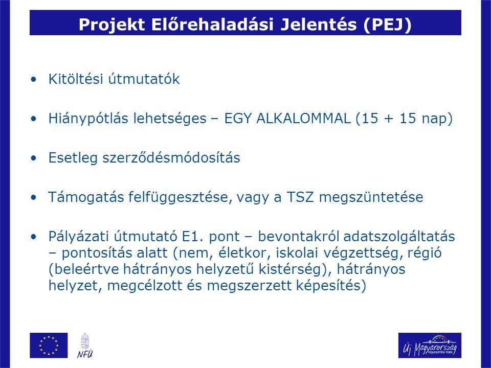 Projekt Előrehaladási Jelentés (PEJ) Kitöltési útmutatók Hiánypótlás lehetséges – EGY ALKALOMMAL (15 + 15 nap) Esetleg szerződésmódosítás Támogatás fe