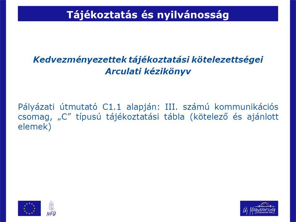Tájékoztatás és nyilvánosság Kedvezményezettek tájékoztatási kötelezettségei Arculati kézikönyv Pályázati útmutató C1.1 alapján: III. számú kommunikác