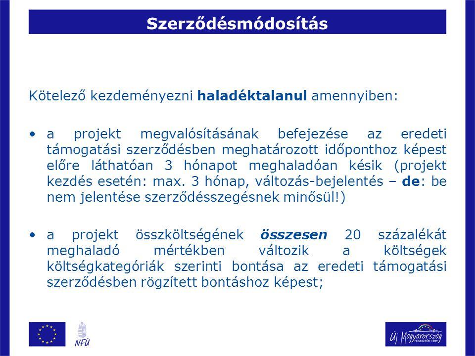 Szerződésmódosítás Kötelező kezdeményezni haladéktalanul amennyiben: a projekt megvalósításának befejezése az eredeti támogatási szerződésben meghatár