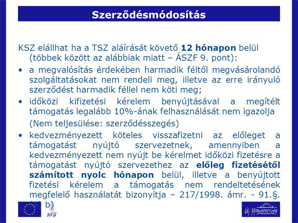 Szerződésmódosítás KSZ elállhat ha a TSZ aláírását követő 12 hónapon belül (többek között az alábbiak miatt – ÁSZF 9. pont): a megvalósítás érdekében