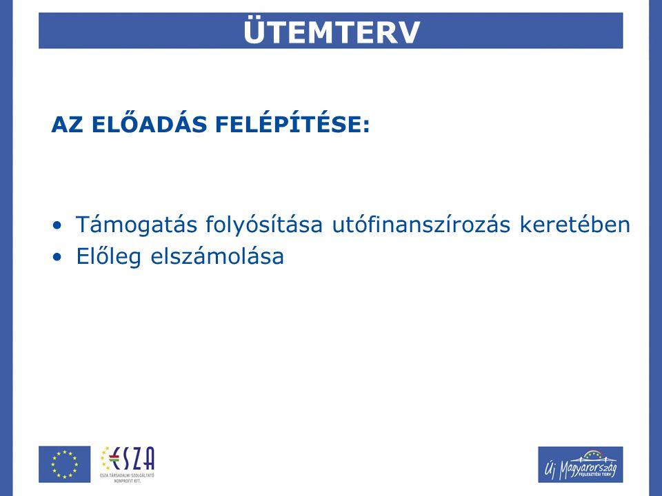 ÜTEMTERV AZ ELŐADÁS FELÉPÍTÉSE: Támogatás folyósítása utófinanszírozás keretében Előleg elszámolása