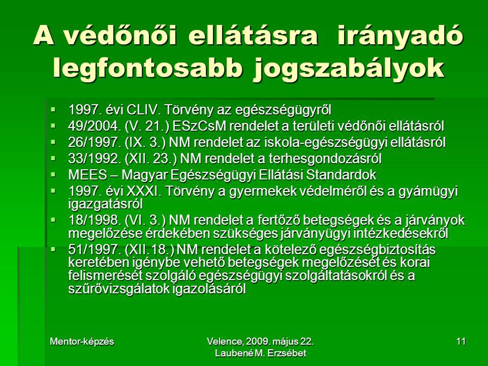 Mentor-képzésVelence, 2009. május 22. Laubené M. Erzsébet 11 A védőnői ellátásra irányadó legfontosabb jogszabályok  1997. évi CLIV. Törvény az egész