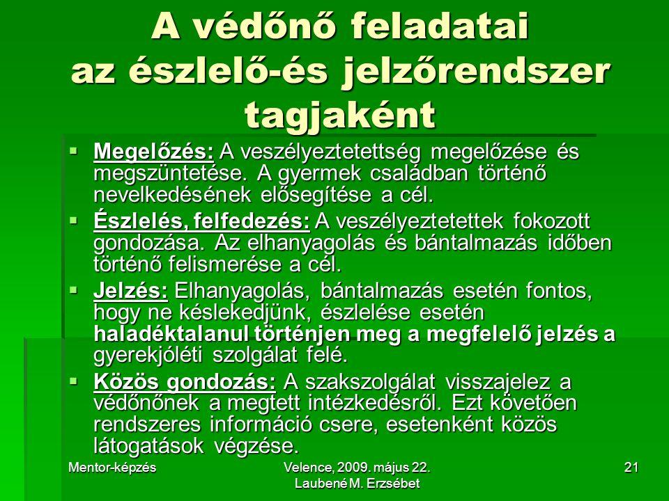 Mentor-képzésVelence, 2009.május 22. Laubené M.
