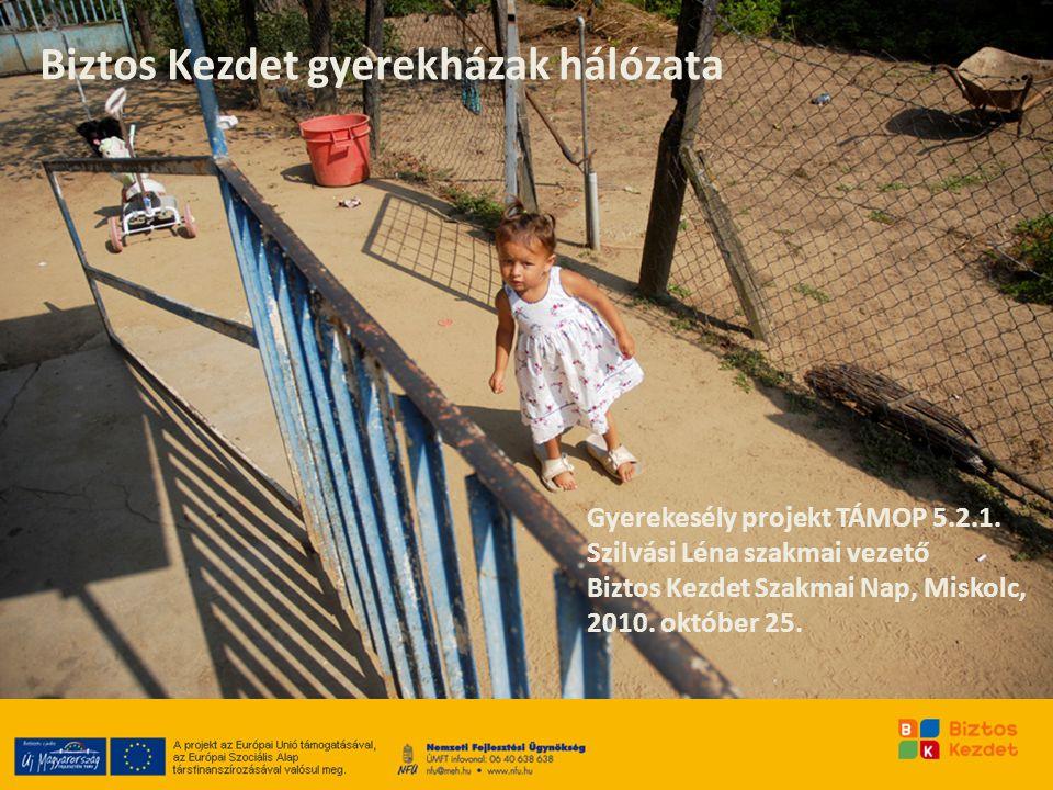 Biztos Kezdet gyerekházak hálózata Gyerekesély projekt TÁMOP 5.2.1. Szilvási Léna szakmai vezető Biztos Kezdet Szakmai Nap, Miskolc, 2010. október 25.