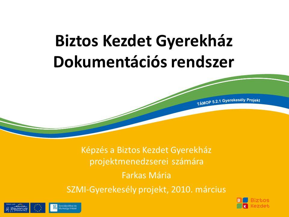 Biztos Kezdet Gyerekház Dokumentációs rendszer Képzés a Biztos Kezdet Gyerekház projektmenedzserei számára Farkas Mária SZMI-Gyerekesély projekt, 2010
