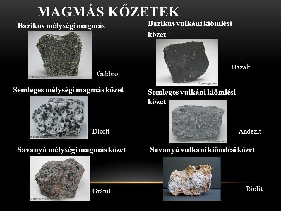 MAGMÁS KŐZETEK Bázikus mélységi magmás kőzet Gabbro Bázikus vulkáni kiömlési kőzet Bazalt Semleges mélységi magmás kőzet Diorit Semleges vulkáni kiöml