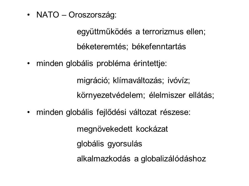 NATO – Oroszország: együttműködés a terrorizmus ellen; béketeremtés; békefenntartás minden globális probléma érintettje: migráció; klímaváltozás; ivóvíz; környezetvédelem; élelmiszer ellátás; minden globális fejlődési változat részese: megnövekedett kockázat globális gyorsulás alkalmazkodás a globalizálódáshoz