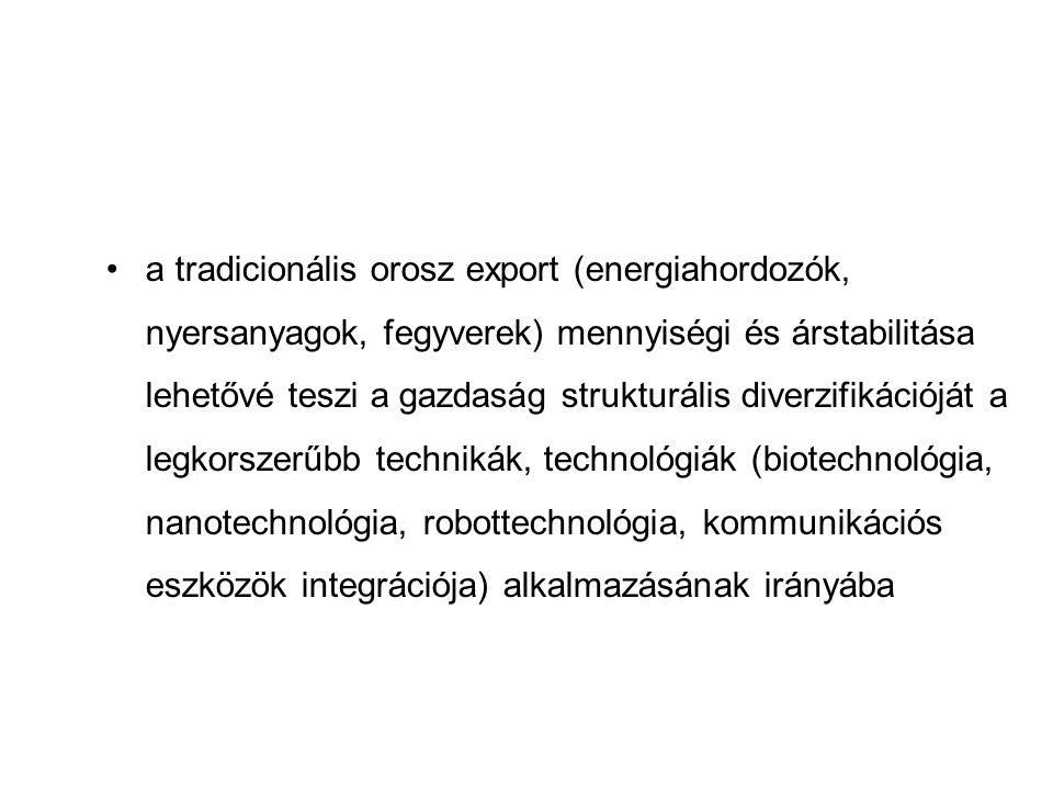 a tradicionális orosz export (energiahordozók, nyersanyagok, fegyverek) mennyiségi és árstabilitása lehetővé teszi a gazdaság strukturális diverzifiká