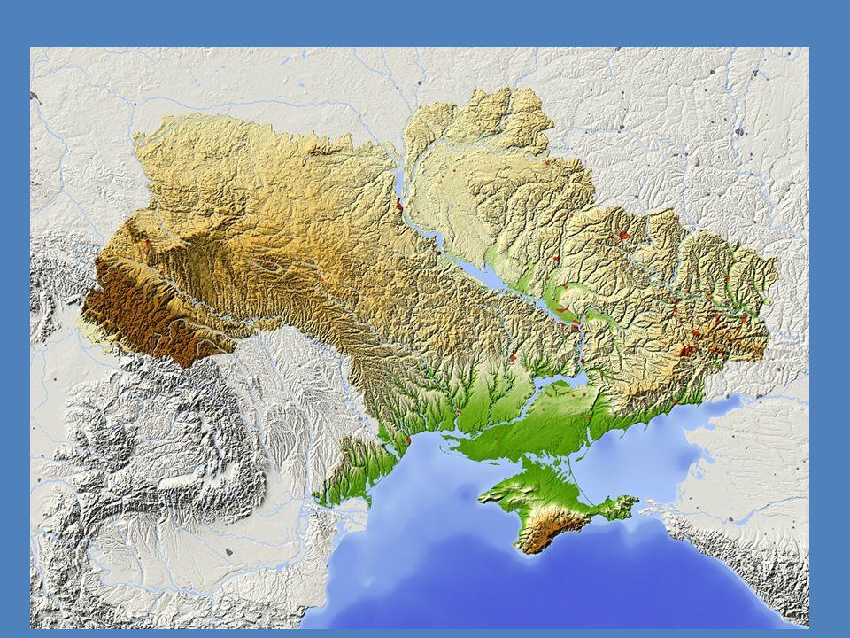 Földrajzi jellemzők Éghajlata: többnyire kontinentális, a partvidéken mediterrán Fontosabb tájai: Kelet-európai-síkság, Krími- hegység,Donyec-medence,Krími-félsziget Fontosabb folyói,tengere: Dnyeper,Dnyeszter,Fekete-tenger,Azovi-tenger