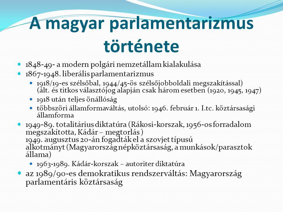 A magyar parlamentarizmus története 1848-49- a modern polgári nemzetállam kialakulása 1867-1948. liberális parlamentarizmus 1918/19-es szélsőbal, 1944