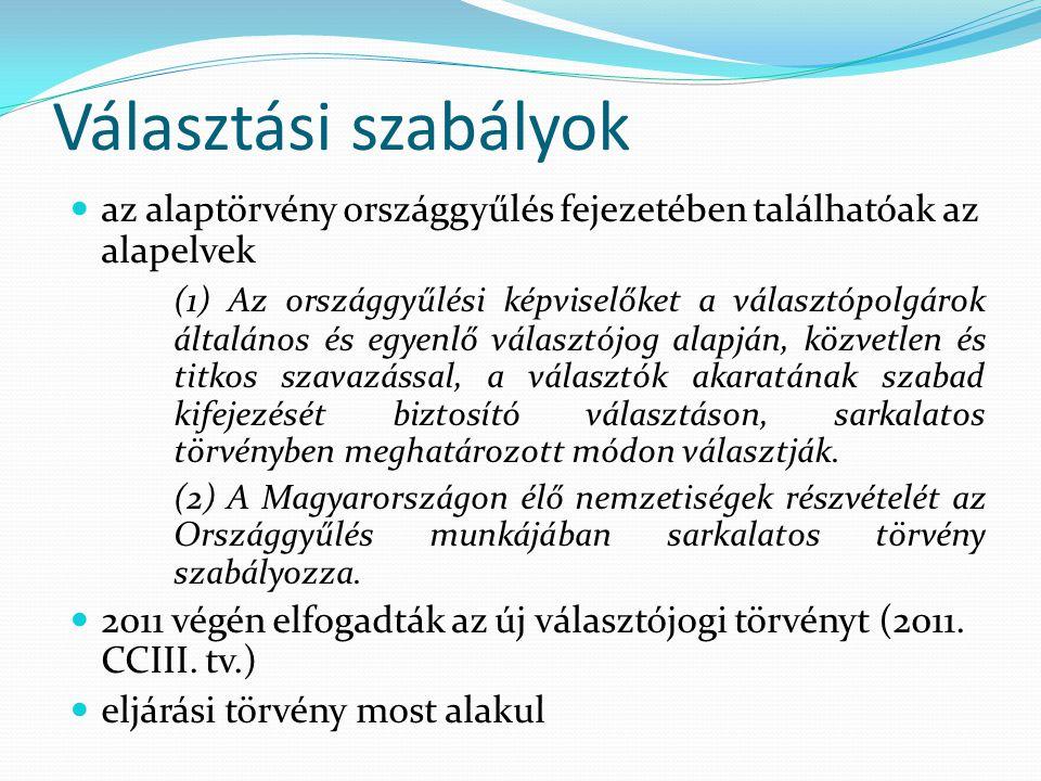 Választási szabályok az alaptörvény országgyűlés fejezetében találhatóak az alapelvek (1) Az országgyűlési képviselőket a választópolgárok általános é