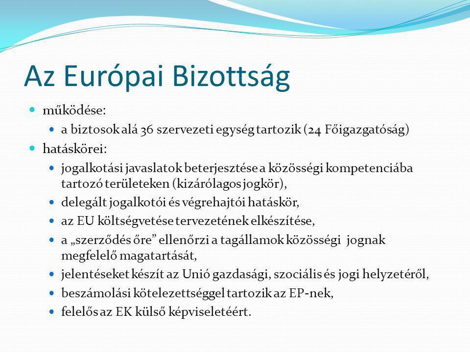 """Az Európai Bizottság működése: a biztosok alá 36 szervezeti egység tartozik (24 Főigazgatóság) hatáskörei: jogalkotási javaslatok beterjesztése a közösségi kompetenciába tartozó területeken (kizárólagos jogkör), delegált jogalkotói és végrehajtói hatáskör, az EU költségvetése tervezetének elkészítése, a """"szerződés őre ellenőrzi a tagállamok közösségi jognak megfelelő magatartását, jelentéseket készít az Unió gazdasági, szociális és jogi helyzetéről, beszámolási kötelezettséggel tartozik az EP-nek, felelős az EK külső képviseletéért."""