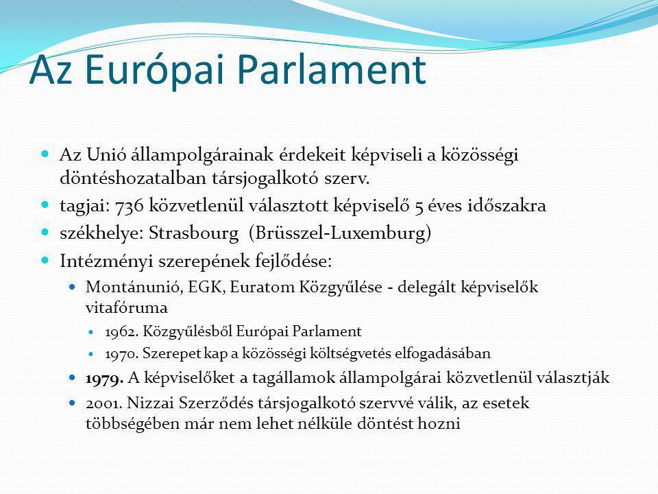 Az Európai Parlament Az Unió állampolgárainak érdekeit képviseli a közösségi döntéshozatalban társjogalkotó szerv.