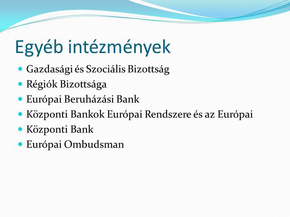 Egyéb intézmények Gazdasági és Szociális Bizottság Régiók Bizottsága Európai Beruházási Bank Központi Bankok Európai Rendszere és az Európai Központi Bank Európai Ombudsman