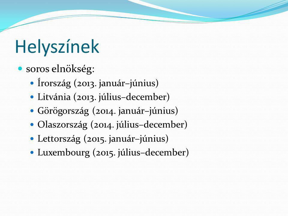Helyszínek soros elnökség: Írország (2013.január–június) Litvánia (2013.