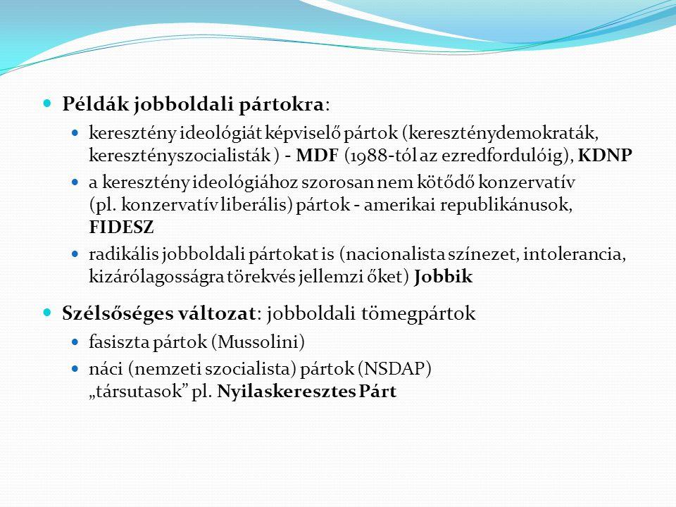 Példák jobboldali pártokra: keresztény ideológiát képviselő pártok (kereszténydemokraták, keresztényszocialisták ) - MDF (1988-tól az ezredfordulóig),