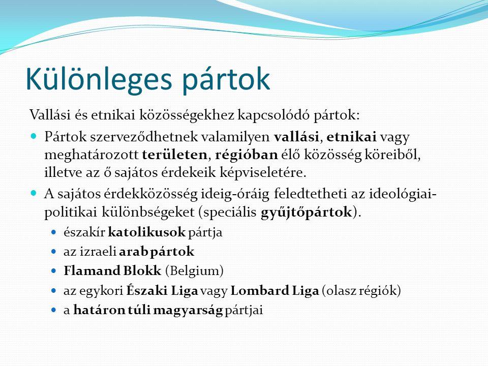 Különleges pártok Vallási és etnikai közösségekhez kapcsolódó pártok: Pártok szerveződhetnek valamilyen vallási, etnikai vagy meghatározott területen,