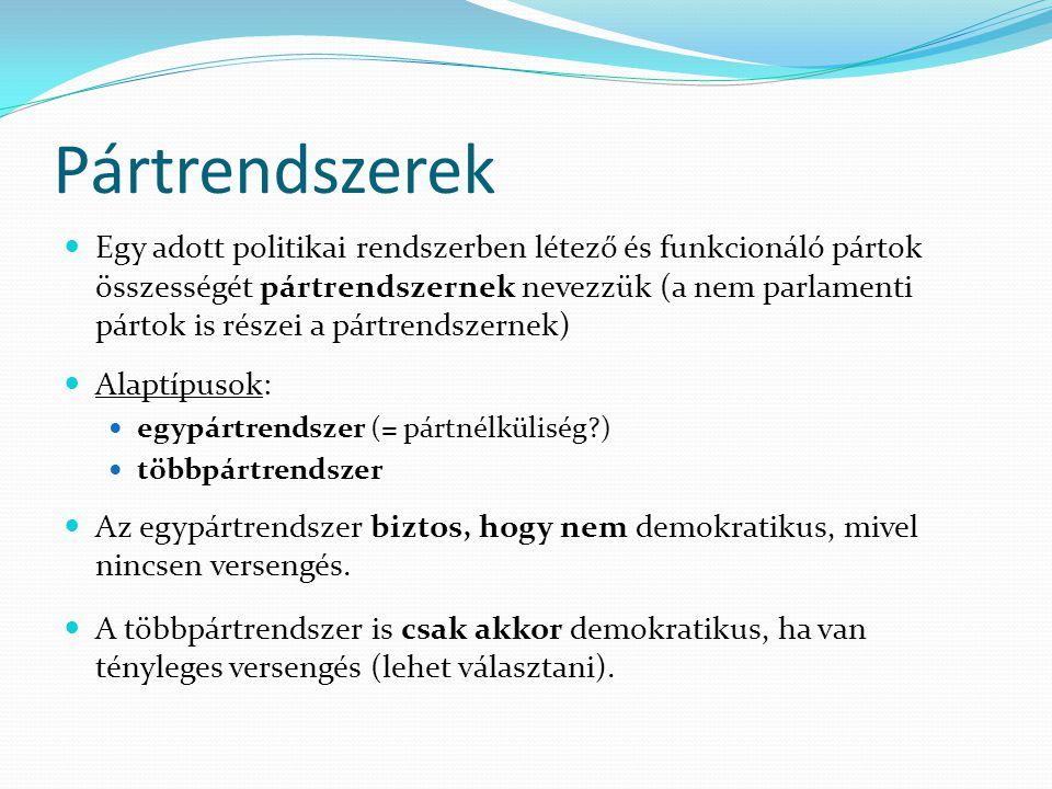 Pártrendszerek Egy adott politikai rendszerben létező és funkcionáló pártok összességét pártrendszernek nevezzük (a nem parlamenti pártok is részei a