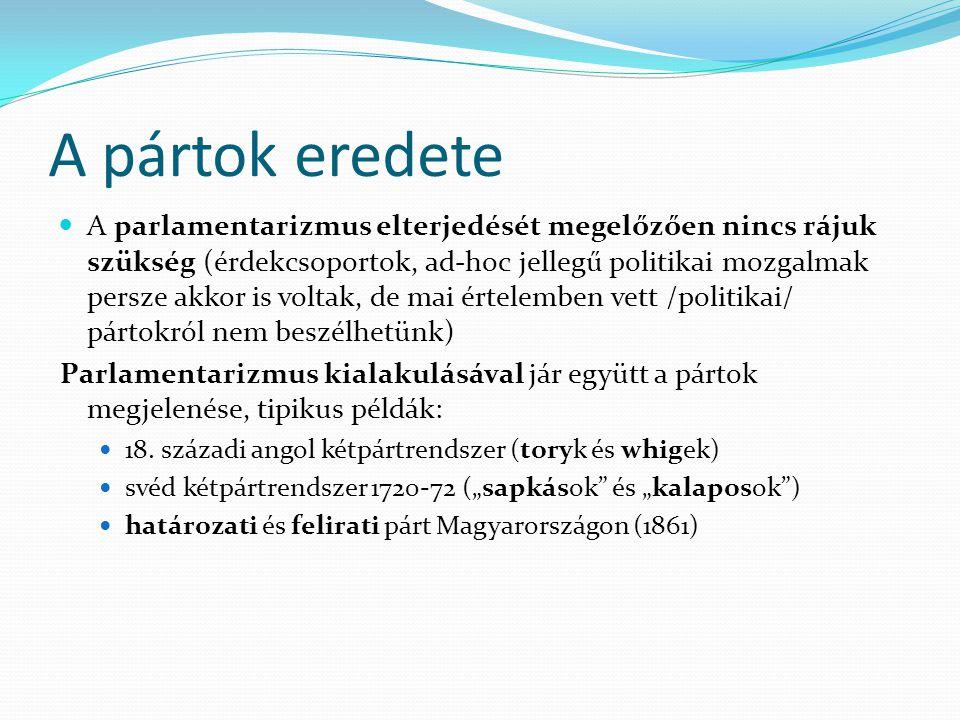 """Többpártrendszerek fiktív többpártrendszer: az alkotmány által előírt szövetségben lévő pártok vagy névlegesen működő pártok ( Lengyel Népköztársaság és NDK 1989 előtt (""""társutas pártok )) hegemón többpártrendszer: a gyakorlatban egy erős párt van és sok gyenge, nincs esély az erős párt leváltására, az ellenzék szerepe formális ( Magyarország az 1920-as, 30-as években)"""