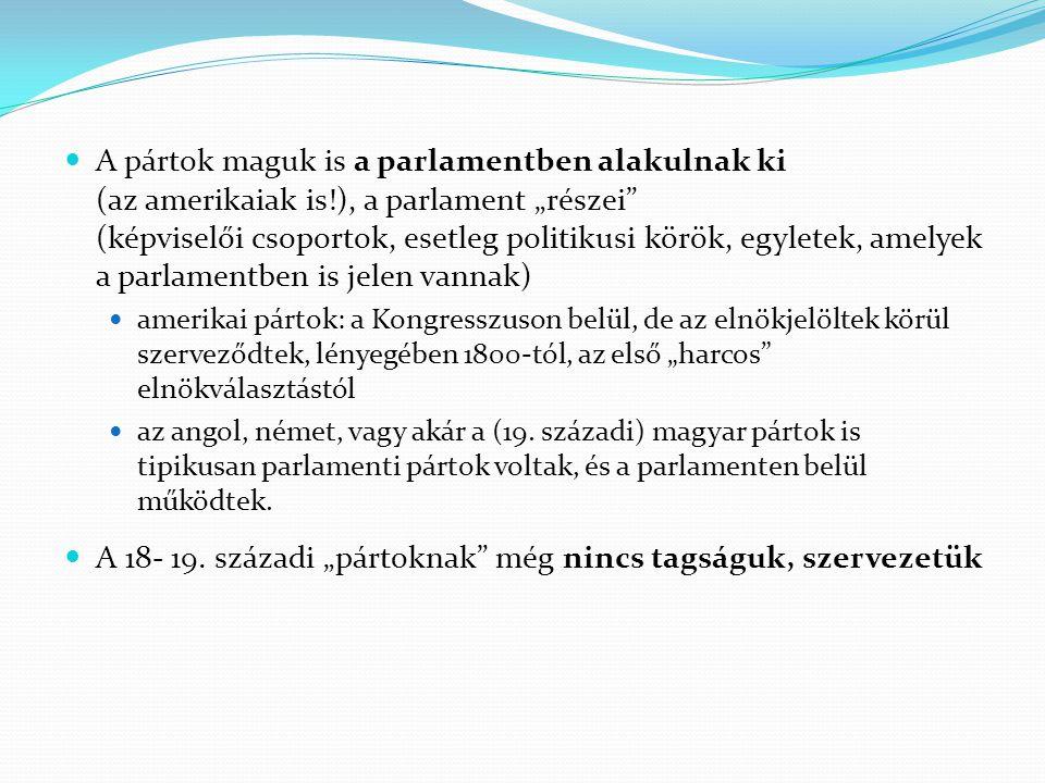 """A pártok története Protopártok (a parlamenten belüli csoportok, lásd korábban) Szervezett pártok a párt """"kilép a parlamentből, önálló szervezetet épít ki (mint egy egyesület – az egyesülési joggal függ össze) meghatározott csoportot képvisel saját belső normái vannak (alapszabály, szervezeti és működési szabályzat, fegyelmi és etikai szabályok stb.) tisztségviselőkkel és saját alkalmazottakkal is rendelkezik jogi személy"""