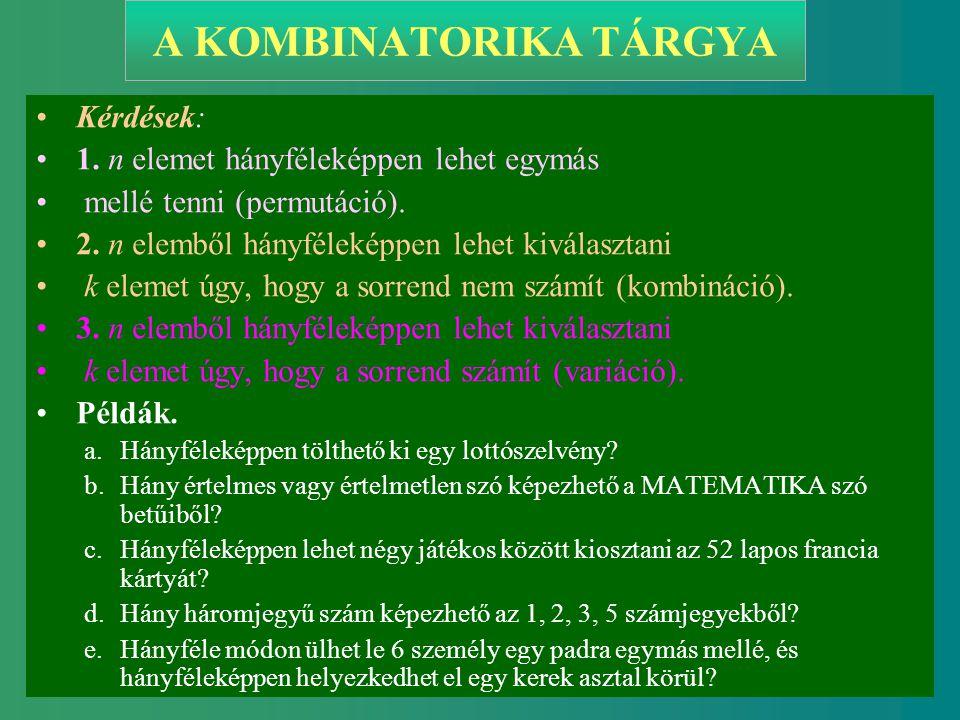 Készítette: Takács Sándor 1 A KOMBINATORIKA TÁRGYA Kérdések: 1. n elemet hányféleképpen lehet egymás mellé tenni (permutáció). 2. n elemből hányféleké