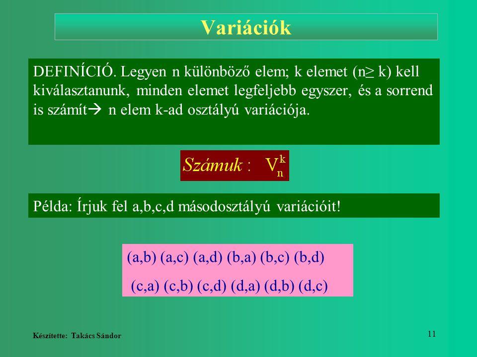 Készítette: Takács Sándor 11 Variációk DEFINÍCIÓ. Legyen n különböző elem; k elemet (n≥ k) kell kiválasztanunk, minden elemet legfeljebb egyszer, és a