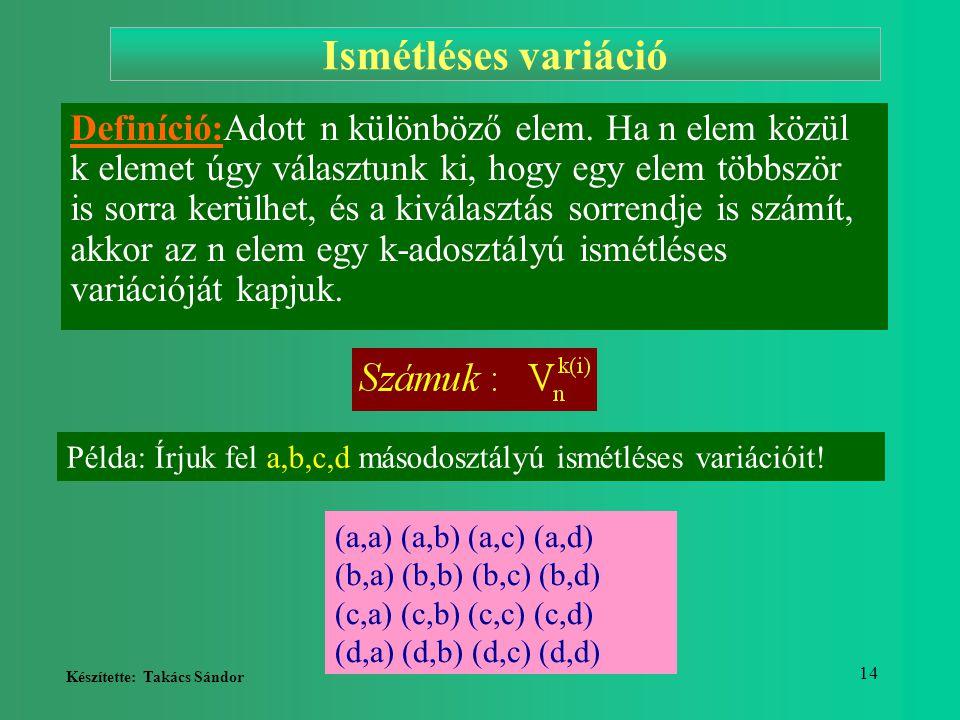 Készítette: Takács Sándor 14 Ismétléses variáció Definíció:Adott n különböző elem. Ha n elem közül k elemet úgy választunk ki, hogy egy elem többször