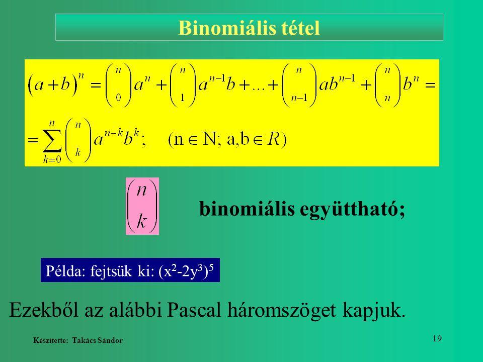 Készítette: Takács Sándor 19 binomiális együttható; Ezekből az alábbi Pascal háromszöget kapjuk. Binomiális tétel Példa: fejtsük ki: (x 2 -2y 3 ) 5
