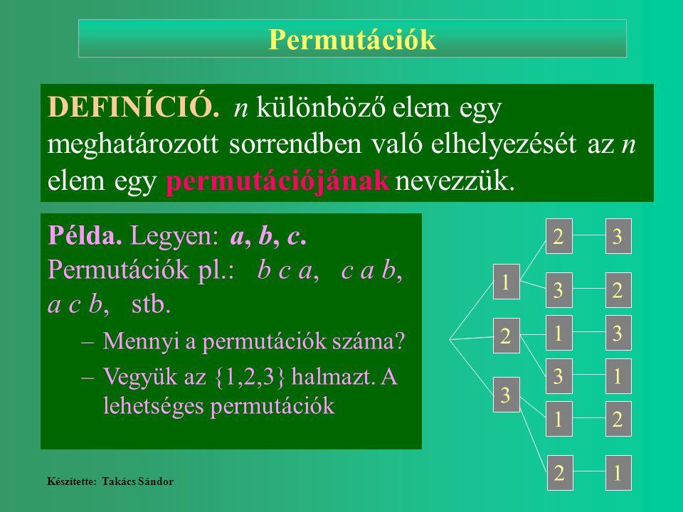 Készítette: Takács Sándor 2 Permutációk DEFINÍCIÓ. n különböző elem egy meghatározott sorrendben való elhelyezését az n elem egy permutációjának nevez