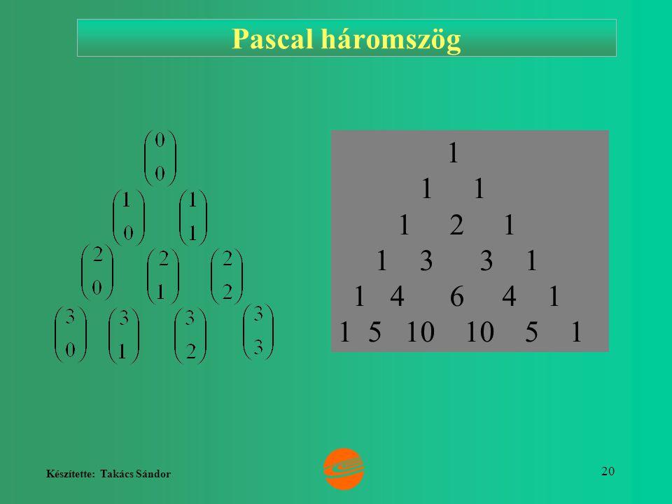 Készítette: Takács Sándor 20 1 1 1 1 2 1 1 3 3 1 1 4 6 4 1 1 5 10 10 5 1 Pascal háromszög