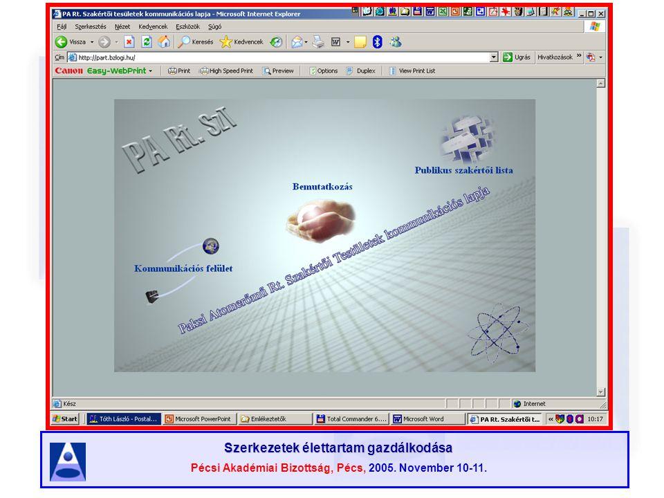Szerkezetek élettartam gazdálkodása Pécsi Akadémiai Bizottság, Pécs, 2005. November 10-11.