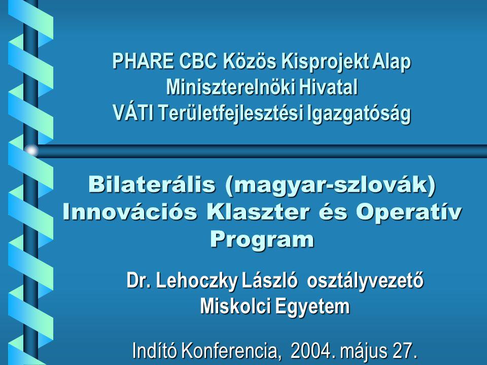 A program végrehajtásában résztvevők köre Magyarországi partnerek: – Bay Zoltán Alkalmazott Kutatási Alapítvány Logisztikai és Gyártástechnikai Intézet (BAY-LOGI) – Észak-magyarországi Regionális Fejlesztési Ügynökség (ÉMRFÜ) – Észak-Magyarországi Munkaadói és Gazdasági Közösség (ÉMGK) – BAZ.