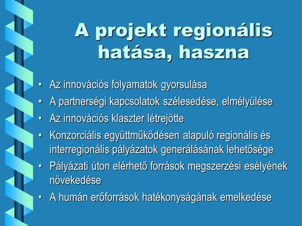 A projekt regionális hatása, haszna Az innovációs folyamatok gyorsulásaAz innovációs folyamatok gyorsulása A partnerségi kapcsolatok szélesedése, elmélyüléseA partnerségi kapcsolatok szélesedése, elmélyülése Az innovációs klaszter létrejötteAz innovációs klaszter létrejötte Konzorciális együttműködésen alapuló regionális és interregionális pályázatok generálásának lehetőségeKonzorciális együttműködésen alapuló regionális és interregionális pályázatok generálásának lehetősége Pályázati úton elérhető források megszerzési esélyének növekedésePályázati úton elérhető források megszerzési esélyének növekedése A humán erőforrások hatékonyságának emelkedéseA humán erőforrások hatékonyságának emelkedése