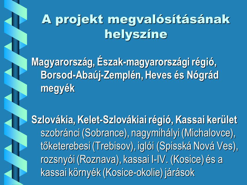 A projekt megvalósításának helyszíne Magyarország, Észak-magyarországi régió, Borsod-Abaúj-Zemplén, Heves és Nógrád megyék Szlovákia, Kelet-Szlovákiai régió, Kassai kerület szobránci (Sobrance), nagymihályi (Michalovce), tőketerebesi (Trebisov), iglói (Spisská Nová Ves), rozsnyói (Roznava), kassai I-IV.