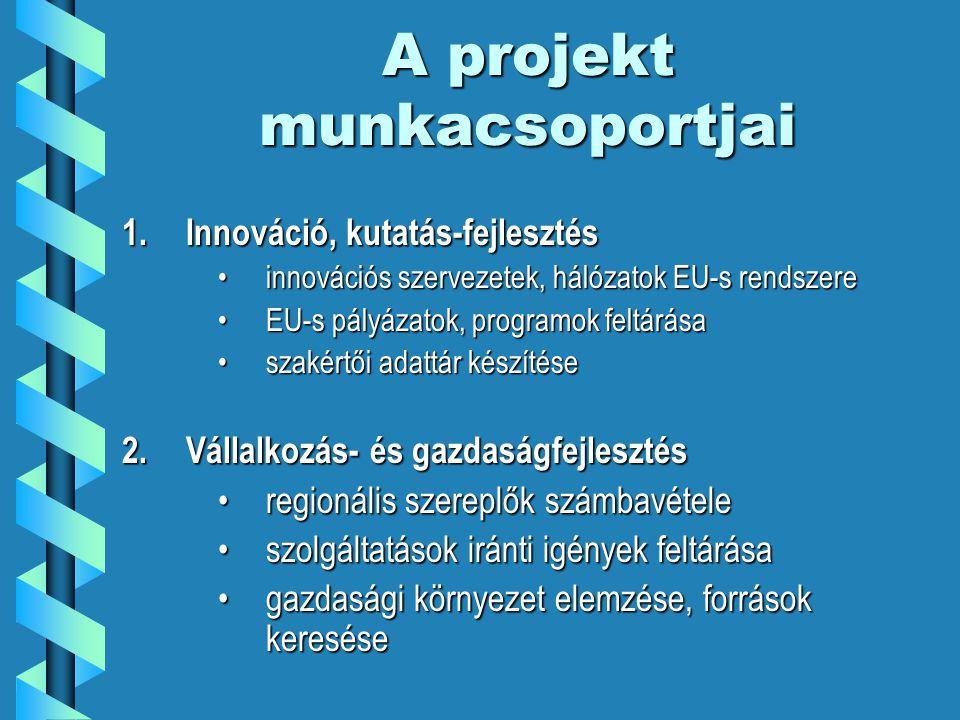 A projekt munkacsoportjai 1.Innováció, kutatás-fejlesztés innovációs szervezetek, hálózatok EU-s rendszereinnovációs szervezetek, hálózatok EU-s rendszere EU-s pályázatok, programok feltárásaEU-s pályázatok, programok feltárása szakértői adattár készítéseszakértői adattár készítése 2.Vállalkozás- és gazdaságfejlesztés regionális szereplők számbavételeregionális szereplők számbavétele szolgáltatások iránti igények feltárásaszolgáltatások iránti igények feltárása gazdasági környezet elemzése, források keresésegazdasági környezet elemzése, források keresése