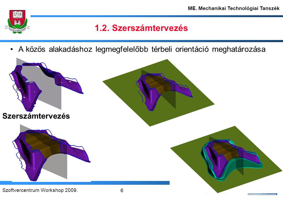 Szoftvercentrum Workshop 2009. 7 ME. Mechanikai Technológiai Tanszék 1.3. Terétékváltozatok